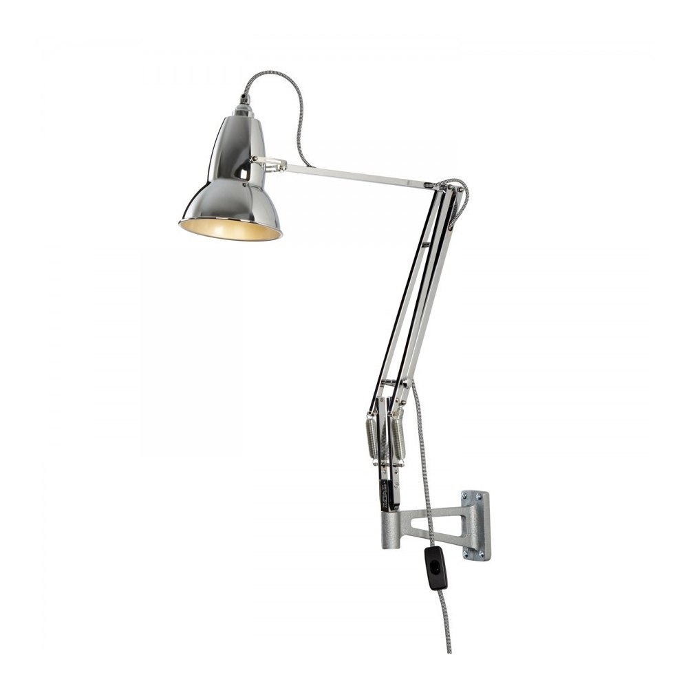 Brightest Wall Lights : Anglepoise DUO1227 Wall Light in Bright Chrome, White/Black Cable - Lighting from The Home ...