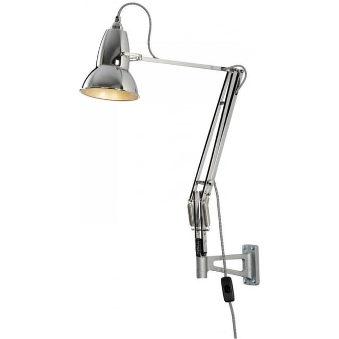 Anglepoise DUO1227 Wall Light in Bright Chrome, White/Black Cable
