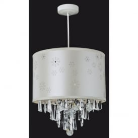 Easy Fit Crystal Ceiling Pendant With Cream Shade 8108