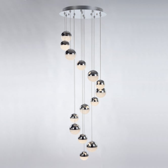Illuminati Lighting Eclipse Modern 14 Light Multi Drop Ceiling Pendant In Chrome Finish MD14003057-14A