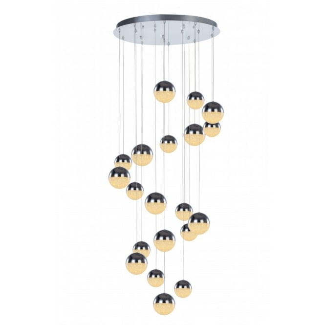 Illuminati Lighting Eclipse Modern 20 Light Multi Drop Ceiling Pendant In Chrome Finish MD14003057-20A