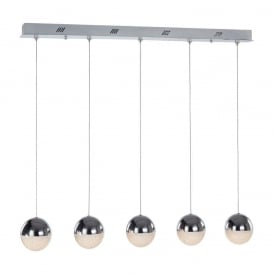 Eclipse Modern 5 Light Ceiling Bar Pendant In Chrome Finish MD14003057-5D CHR