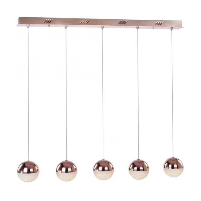 Illuminati Lighting Eclipse Modern 5 Light Ceiling Bar Pendant In Copper Finish MD14003057-5D CPR