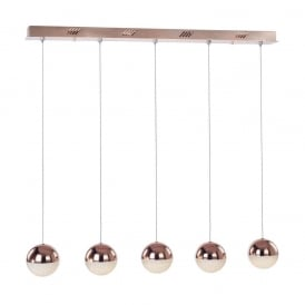 Eclipse Modern 5 Light Ceiling Bar Pendant In Copper Finish MD14003057-5D CPR