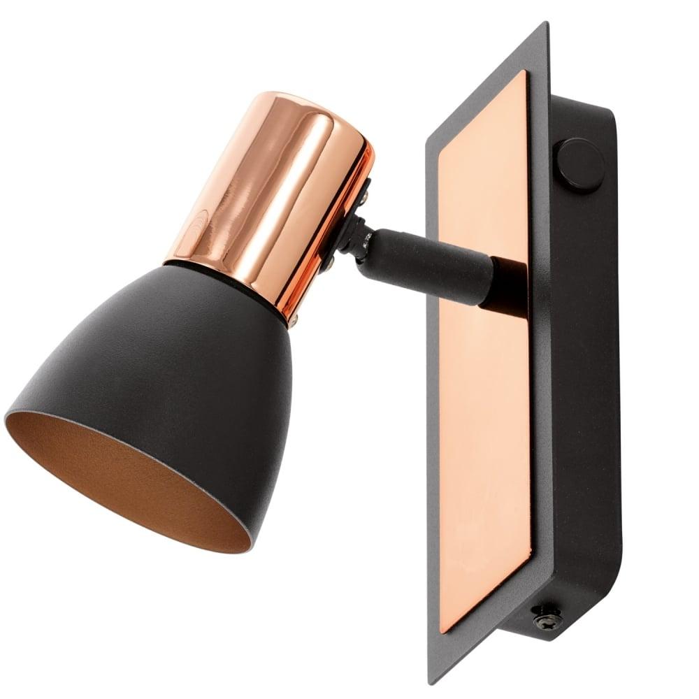 Eglo lighting barnham modern led single wall light in black and barnham modern led single wall light in black and copper finish 94584 aloadofball Images