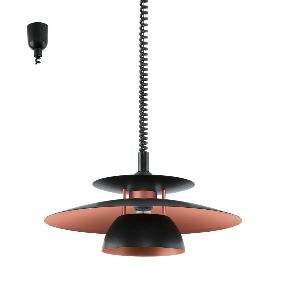 Eglo lighting brenda modern rise and fall ceiling light in black and brenda modern rise and fall ceiling light in black and copper finish 31666 aloadofball Choice Image