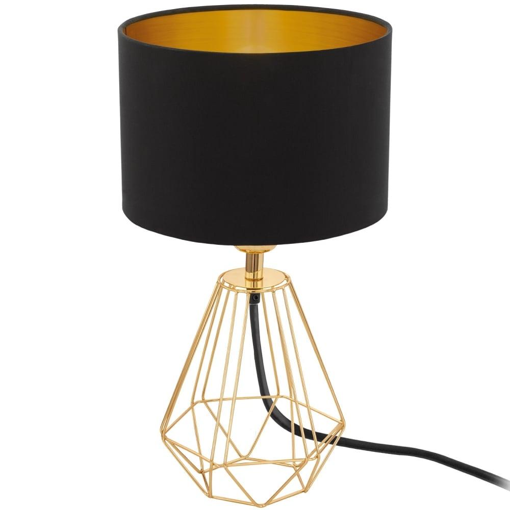 Carlton 2 Geometric Design Table Lamp In Brass With Black Shade 95788