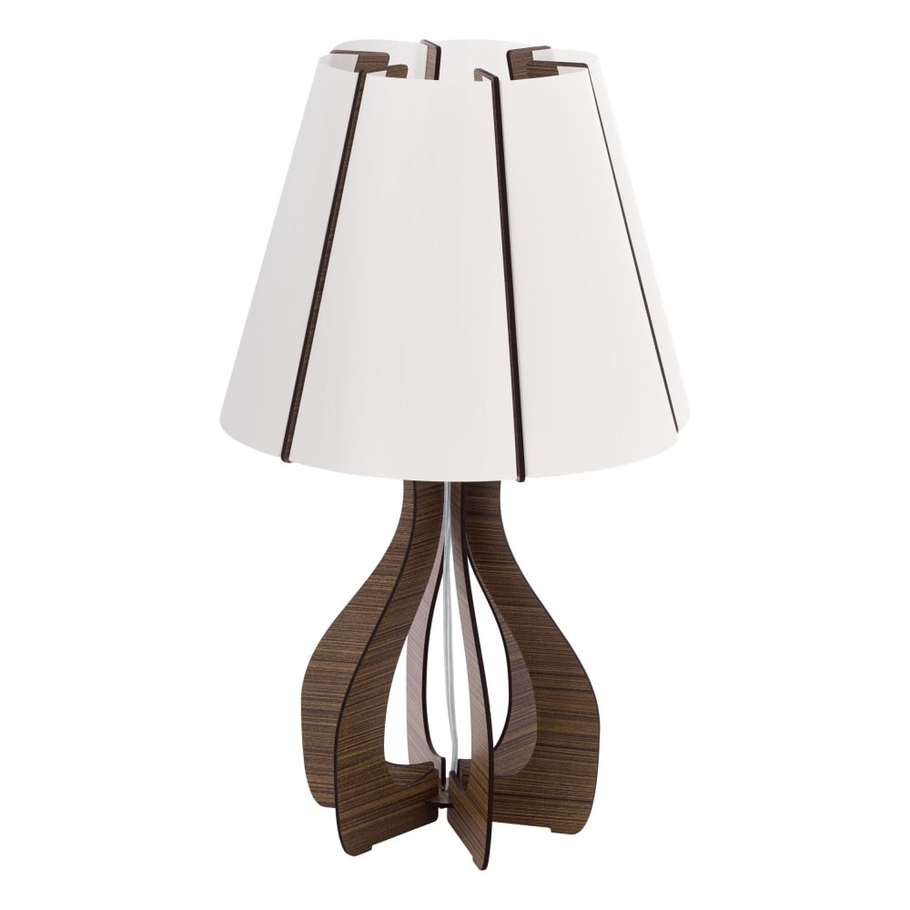 Cossano Contemporary Table Lamp With Brown Wooden Base 94954