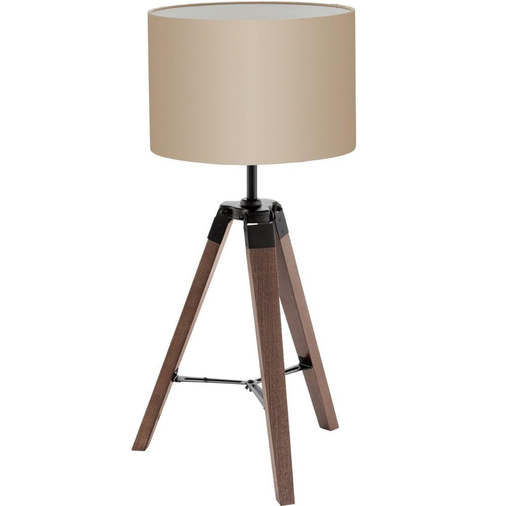 Lantada Wooden Table Lamp In Nut Brown Finish With Taupe Shade 94325
