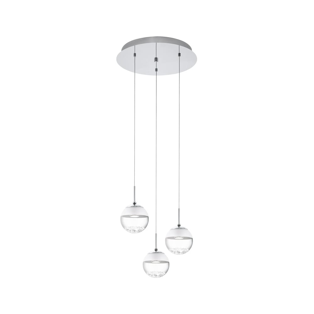 Eglo lighting montefio 1 decorative led 3 light ceiling cluster montefio 1 decorative led 3 light ceiling cluster pendant in chrome with crystal glass 93709 aloadofball Images