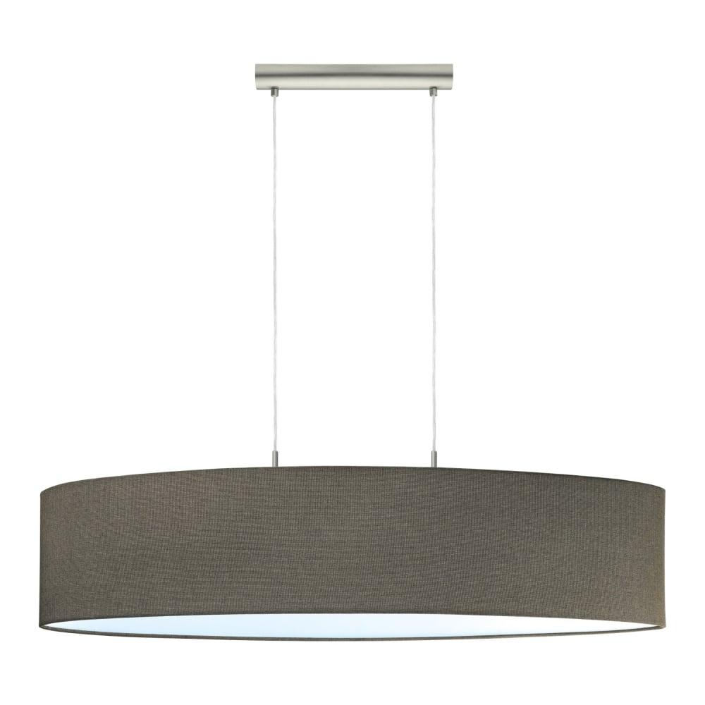 Eglo lighting pasteri 2 light large ceiling pendant light in satin pasteri 2 light large ceiling pendant light in satin nickel with linen brown shade 96383 mozeypictures Gallery