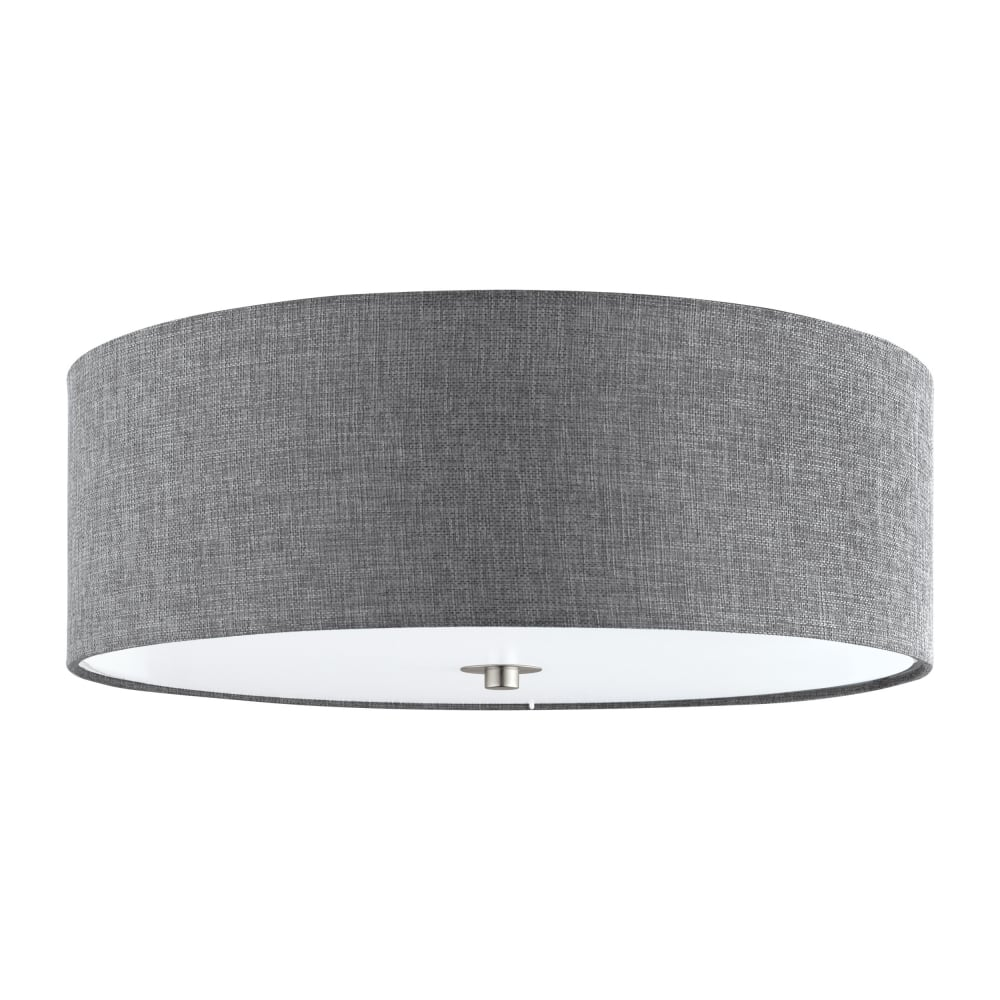 Eglo lighting pasteri flush ceiling light with grey linen shade and pasteri flush ceiling light with grey linen shade and glass diffuser 96366 aloadofball Gallery