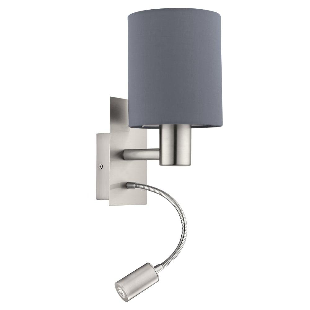 Eglo lighting pasteri wall light in satin nickel with grey shade pasteri wall light in satin nickel with grey shade 96479 aloadofball Images