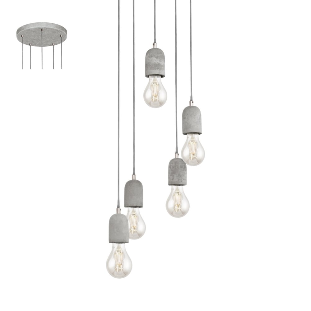 Eglo lighting silvares five light ceiling cluster pendant in grey silvares five light ceiling cluster pendant in grey 95524 mozeypictures Image collections