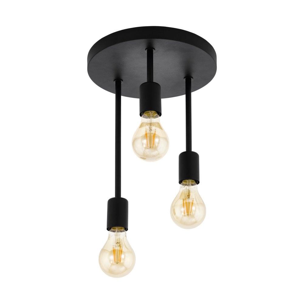 Eglo Lighting Wilmcote Industrial Semi Flush Ceiling Light In Black Finish 43126 Lighting From The Home Lighting Centre Uk
