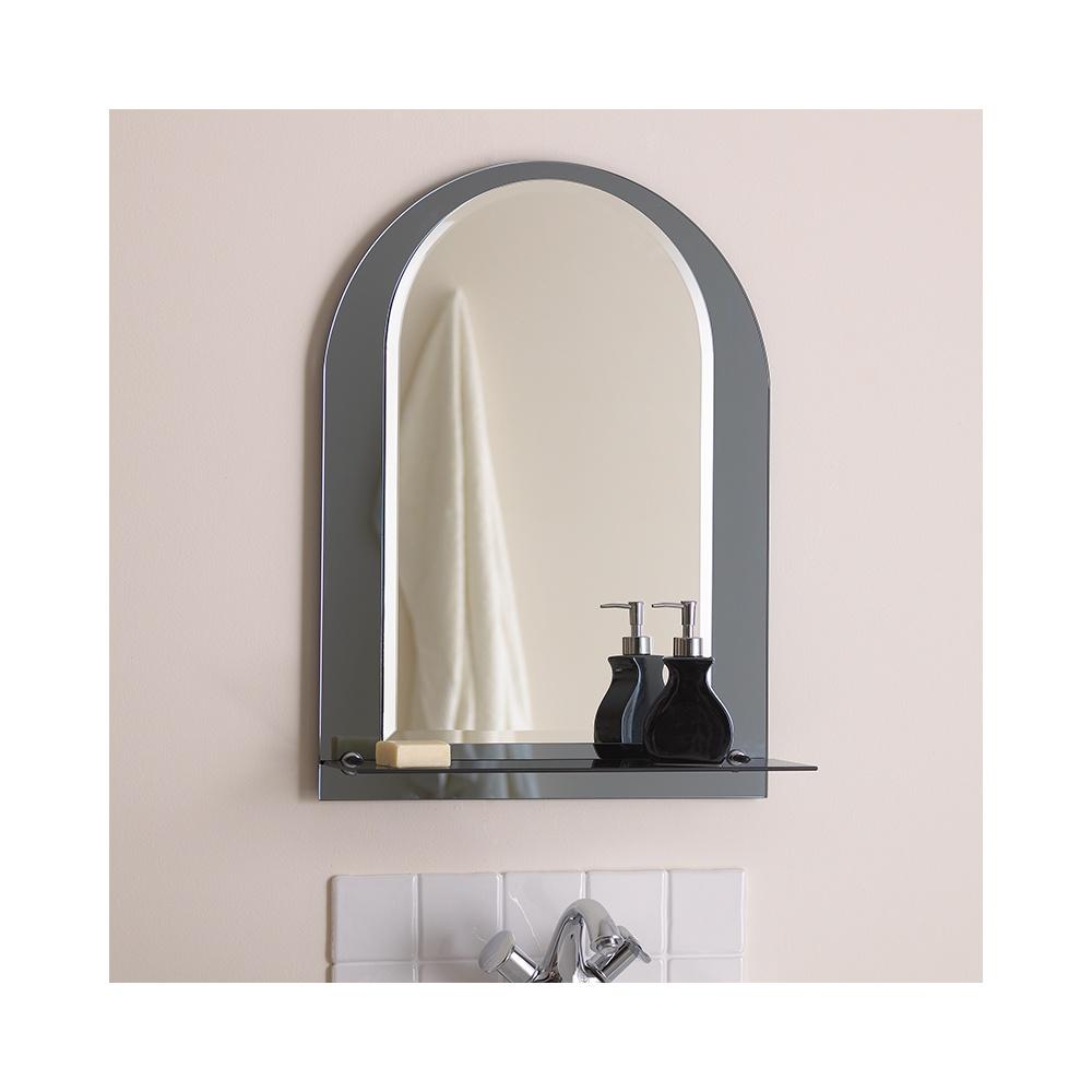 El lcaria bathroom mirror with chrome shelf