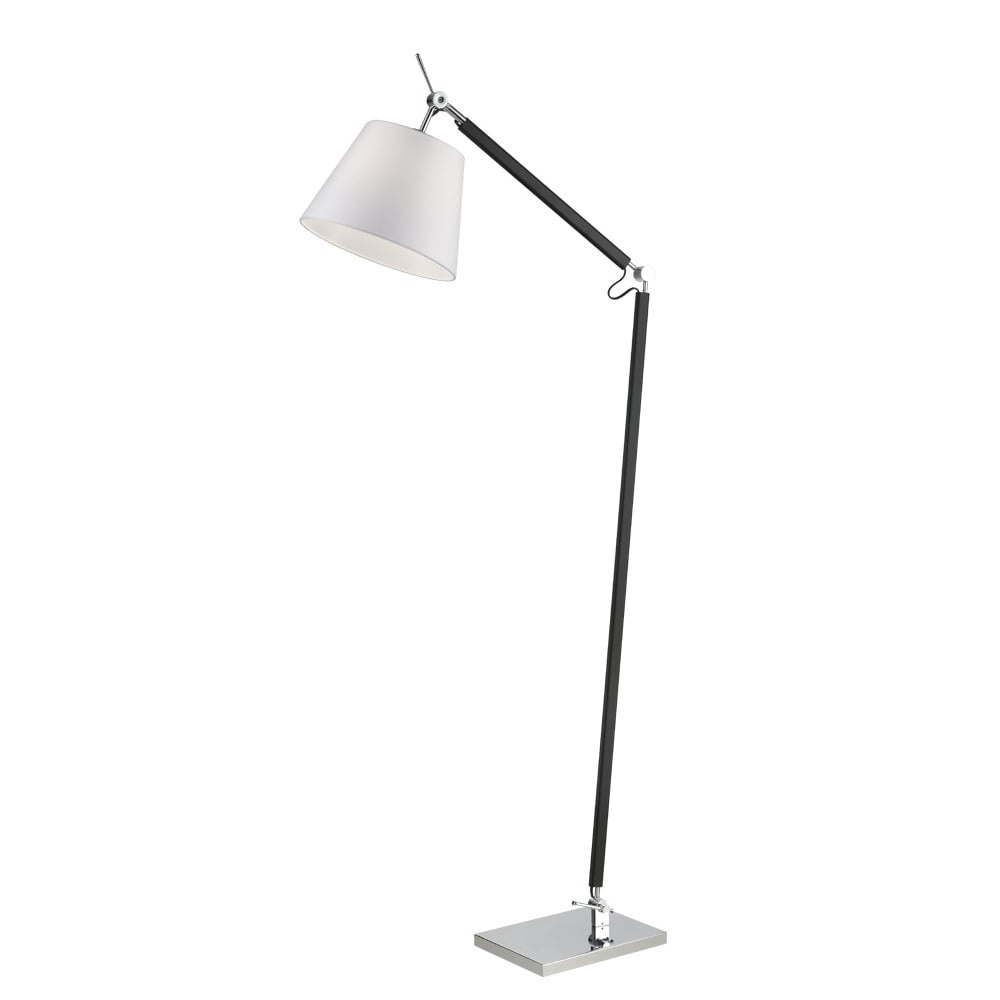 Franklite lighting elegant adjustable floor lamp in chrome and black finish with off white shade sl230 lighting from the home lighting centre uk