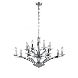 Elena 12 Light Ceiling Pendant In Chrome Finish With Crystal Glass Candle Pans FL2374-12