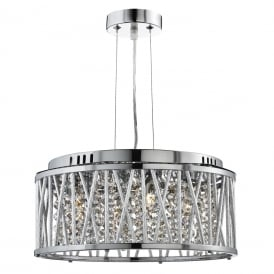 Elise 4 Light Crystal Ceiling Pendant Light In Chrome Finish 8334-4CC