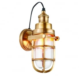 Elms Vintage Wall Lantern In Mellow Solid Brass Finish With Clear Glass 72988