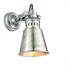 Elms Vintage Wall Light In Tarnished Silver Finish 73524