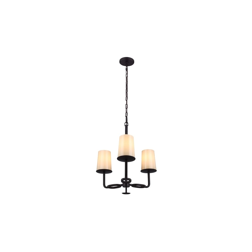 Huntley 3 Light Chandelier In Bronze Finish With Glass Shades Fe Huntley3
