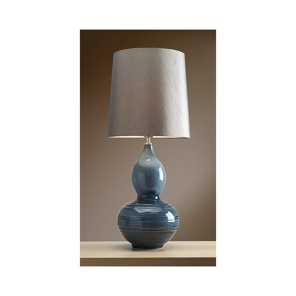 LUI/LAPIS GOURDr Lui Collection Blue Gourd Table Lamp With Pewter Shade