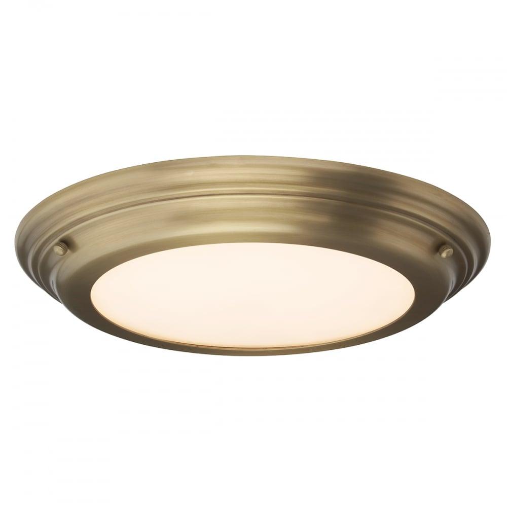 Elstead Welland Medium Bathroom Ceiling Light In Aged Brass Finish ...