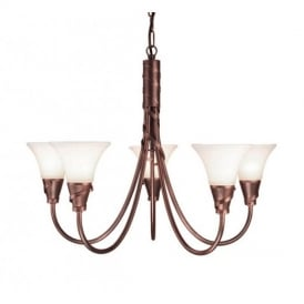 EM5 COPPER Emily bronze five light ceiling pendant
