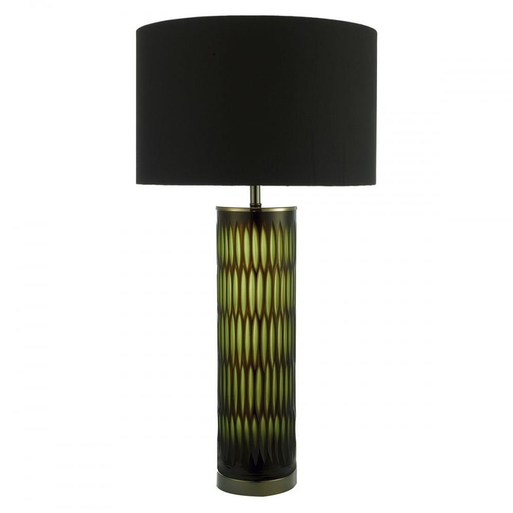 Emerald Green Table Lamp With Black Silk Shade Eme4224 X Lighting