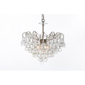 Emmie Crystal 5 Light Flush Ceiling Light In Antique Brass Finish CFH401091/05/AB