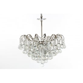Emmie Crystal 5 Light Flush Ceiling Light In Chrome Finish CFH401091/05/CH