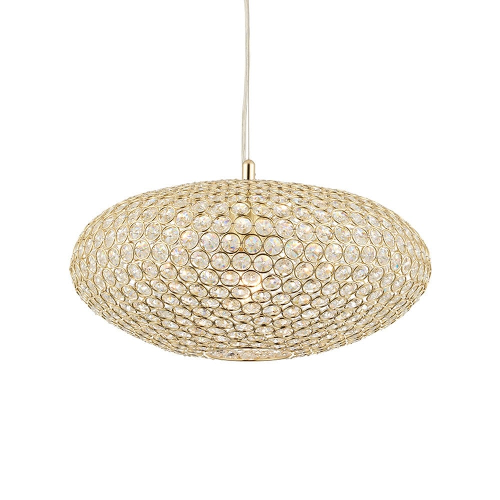 Endon claudia crystal glass oval ceiling pendant light in brass claudia crystal glass oval ceiling pendant light in brass finish 68992 aloadofball Images