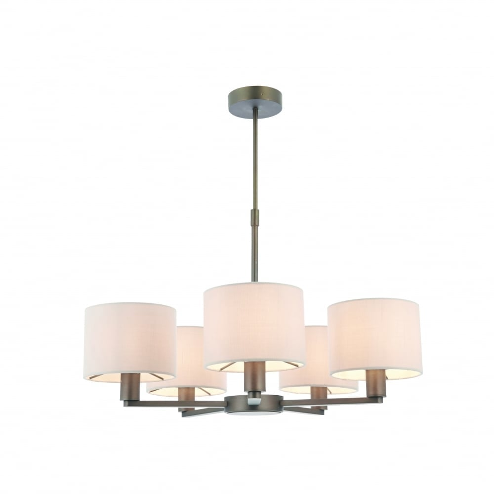 Endon daley elegant five light ceiling pendant in dark antique daley elegant five light ceiling pendant in dark antique bronze with faux silk shades 73017 mozeypictures Image collections