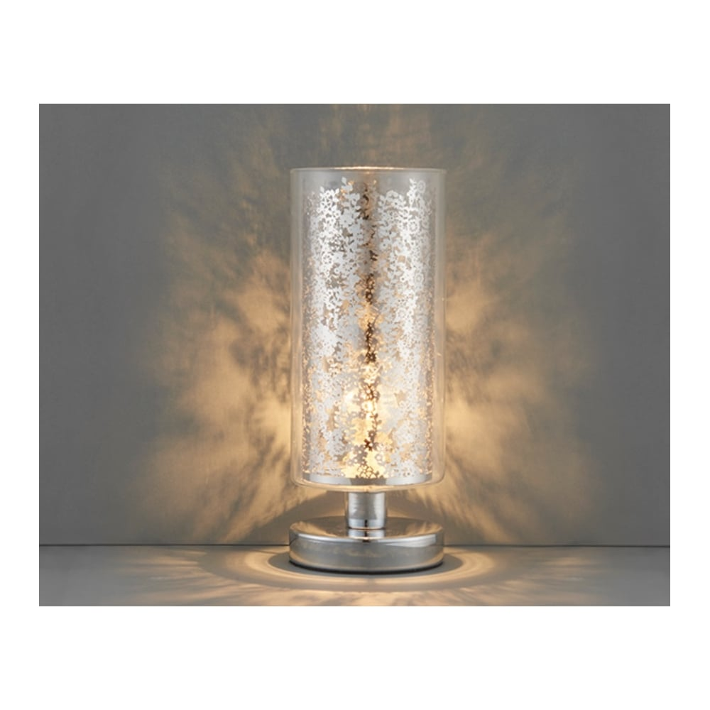 Lacy Decorative Touch Table Lamp In Chrome Finish With Glass Shade 70182