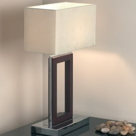 0195-DW Dark Wood Table Lamp With Shade