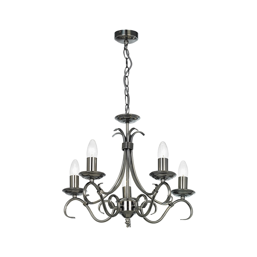 Endon 2030 5as 5 light chandelier in antique silver lighting from 2030 5as 5 light chandelier in antique silver mozeypictures Images