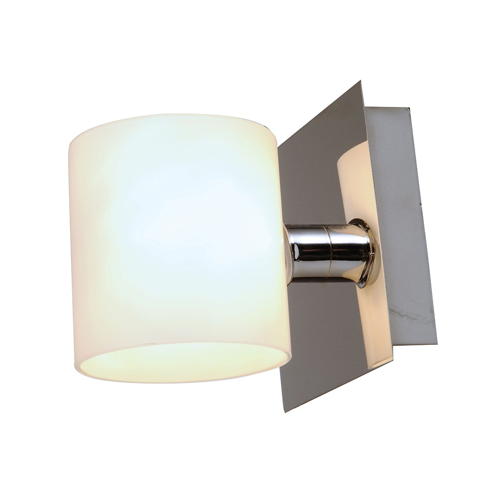 Chrome Wall Light With Glass Shade : Endon 91341 Chrome Wall Light With White Glass Shade - Lighting from The Home Lighting Centre UK