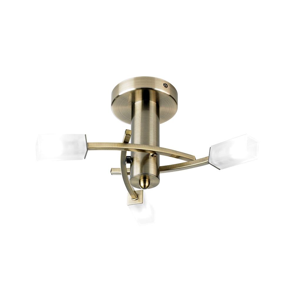 Endon Antique Brass Semi Flush 3 Light Ceiling Light 146 3AB Lighting Fro