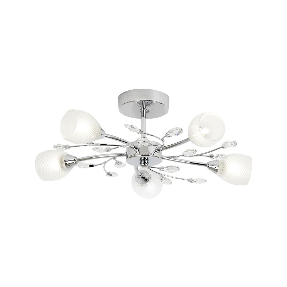 Endon Bathroom Ceiling Lights endon douglas-5ch 5 light polished chrome semi flush ceiling light