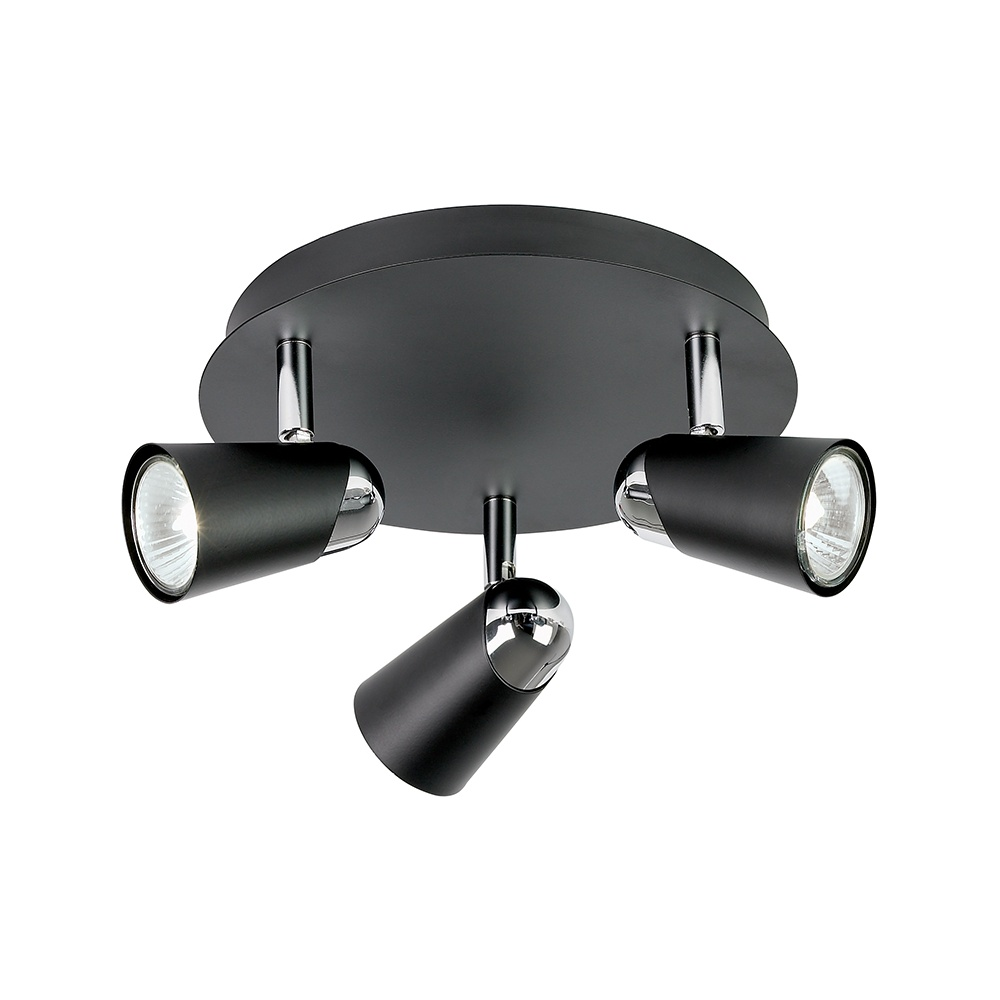 Dark Chrome Ceiling Lights : Endon el light ceiling spot in black