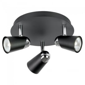 EL-10053 3 Light Ceiling Spot Light In Black & Chrome