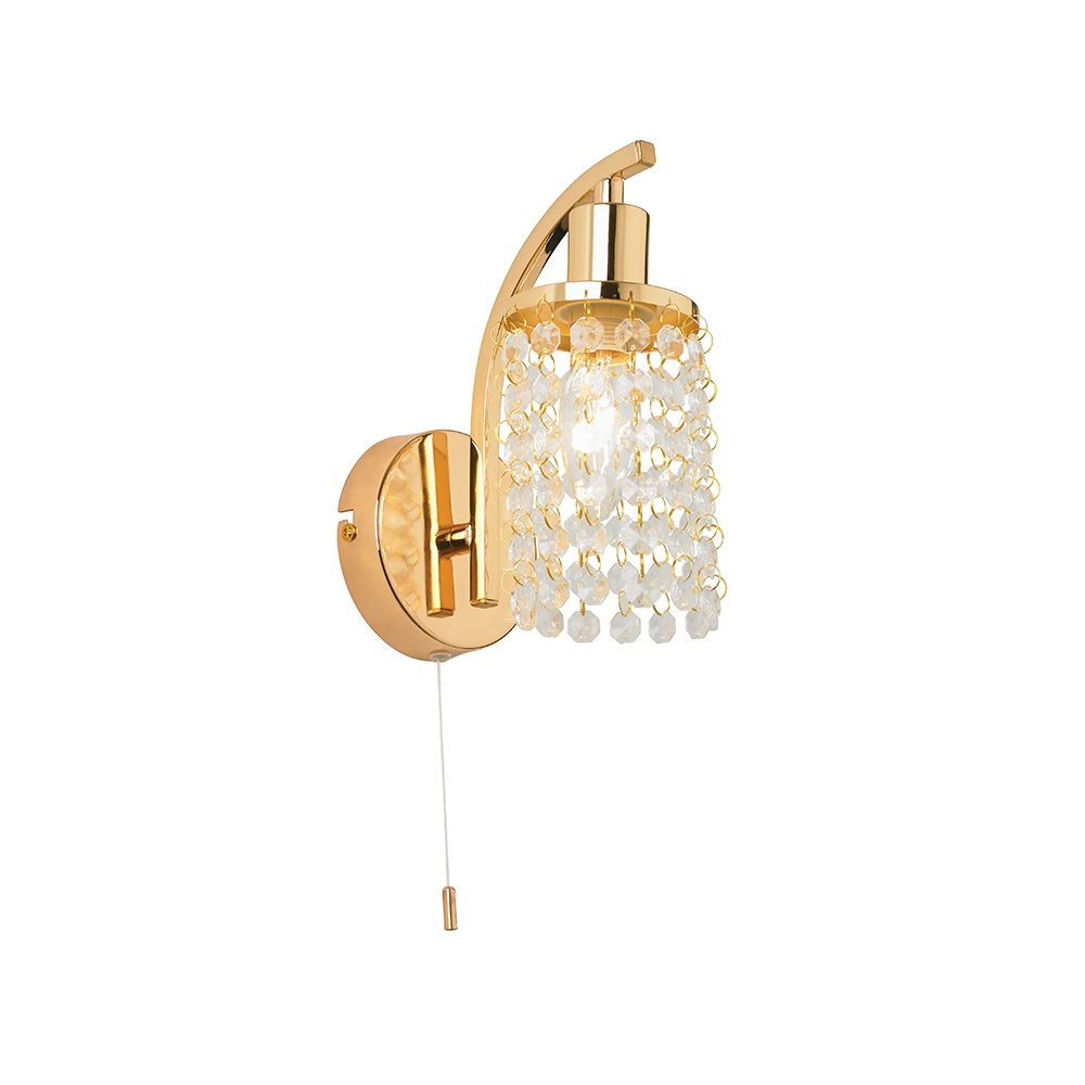 Gold Ball Wall Lights : GARCIA-1WBGO Switched Crystal Drop Shade Gold Wall Light - Lighting from The Home Lighting Centre UK