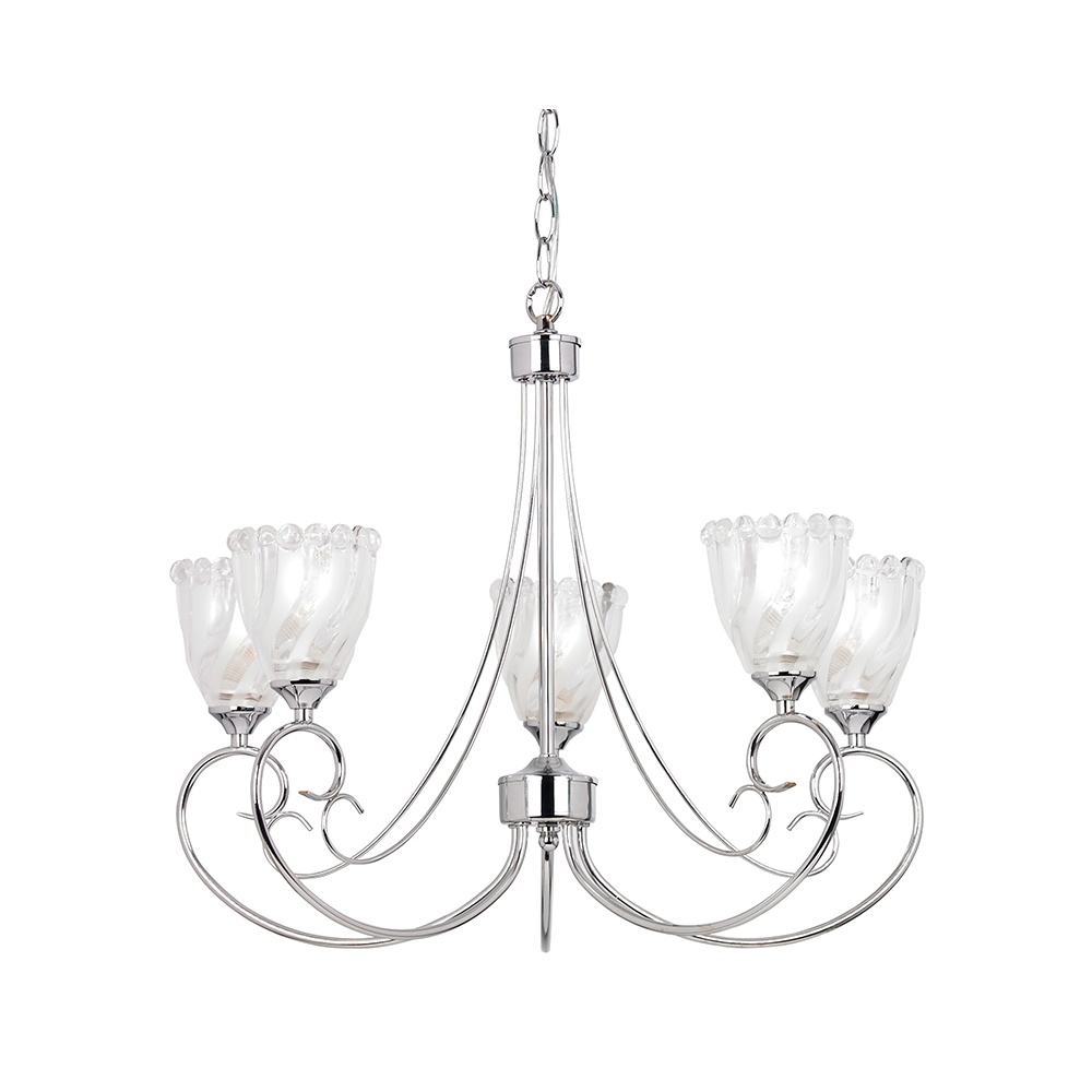 Ceiling Light 5 Arm Chrome : Endon garner ch light convertible polished chrome