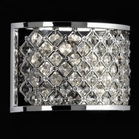 HUDSON-2WBCH 2 Light Diamond Crome & Crystal Wall Bracket