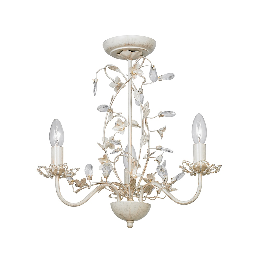 Endon LULLABY-3CR Lullaby Cream Gold 3 Light Flush Ceiling Light