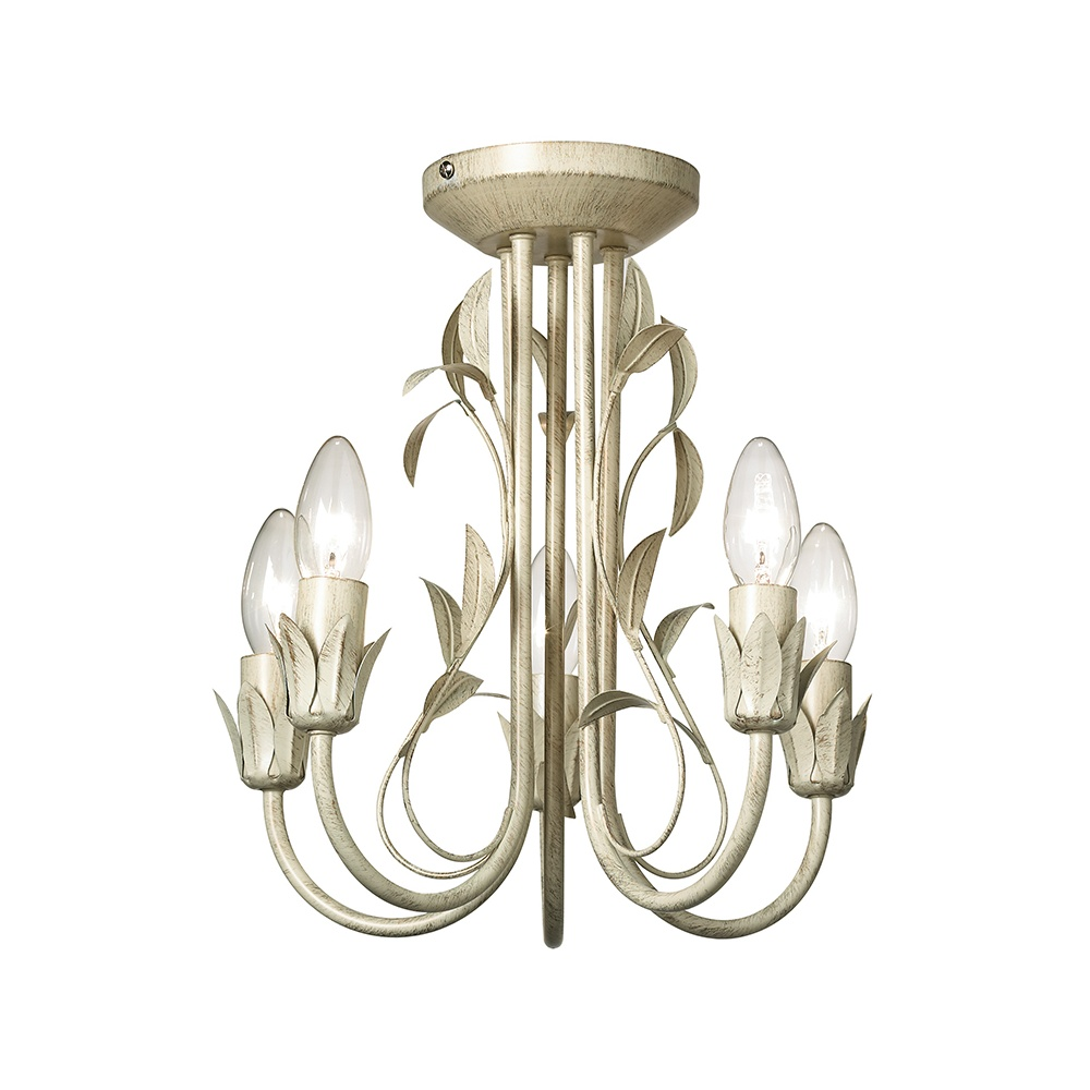 Endon MOTIF-5CR 5 Light Semi Flush Ceiling Light In Cream Gold
