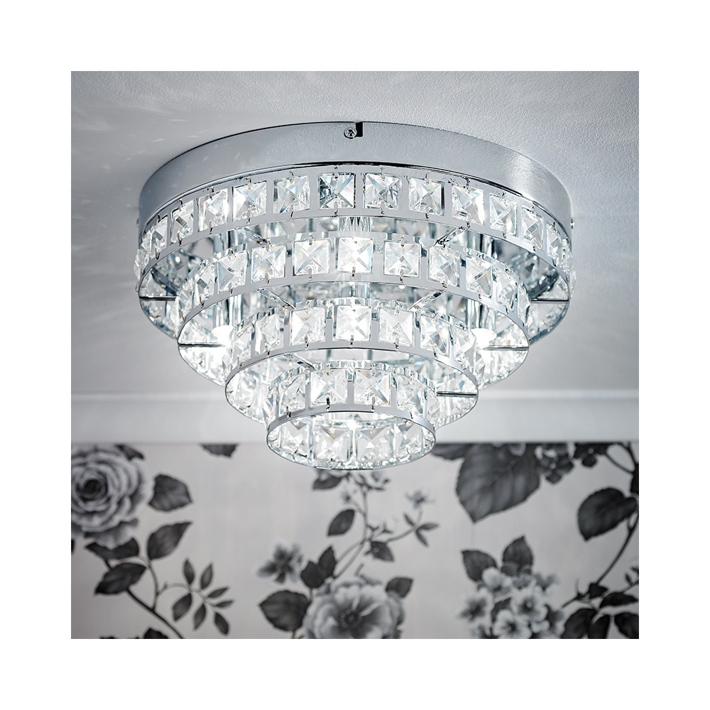 Endon Bathroom Ceiling Lights endon motown-4ch 4 light flush ceiling light with glass beads