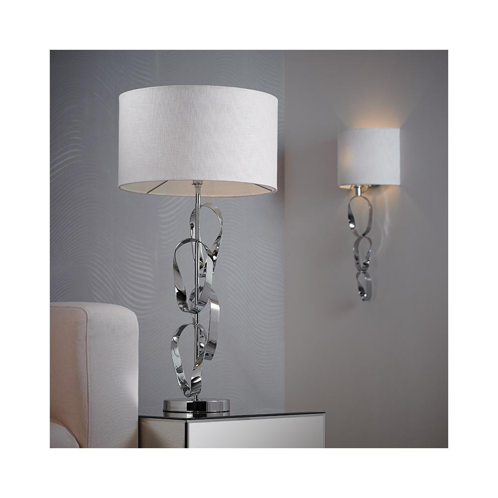 Endon Lighting ROTHKO-WBCH 1 Light Metal Chrome & White Shade Wall Light - Endon Lighting from ...