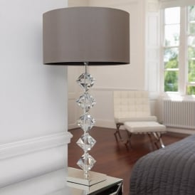 VERDONE Crystal Table Lamp In Silver Plate WIth Shade
